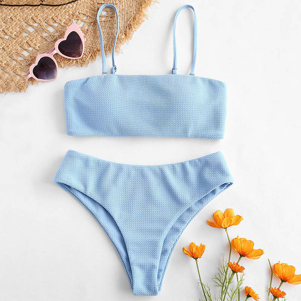 ZAFUL Textured Padded Bandeau Bikini Set Solid Classic Women Swim Suit Summer Wire Free Spaghetti Straps Two Pieces Sets 2019