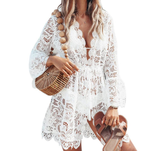 Womens Sexy V-Neck Long Sleeves Sheer Floral Lace Mini Skater Dress Drawstring High Waist Hollow Out Bikini Cover Up Beachwear