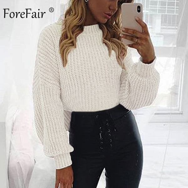 Forefair Casual Turtleneck Sweater Woman Winter Knitting Pullovers Lantern Sleeve Short Black White Knitted Solid Jumper Women