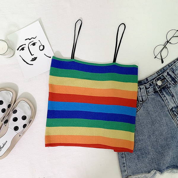 Rainbow Stripe Knit Cami Top Women Boho Stretchy Vintage Slim Fit Summer Vests Spaghetti Strap Cute Crop Tops Mujer Verano 2019