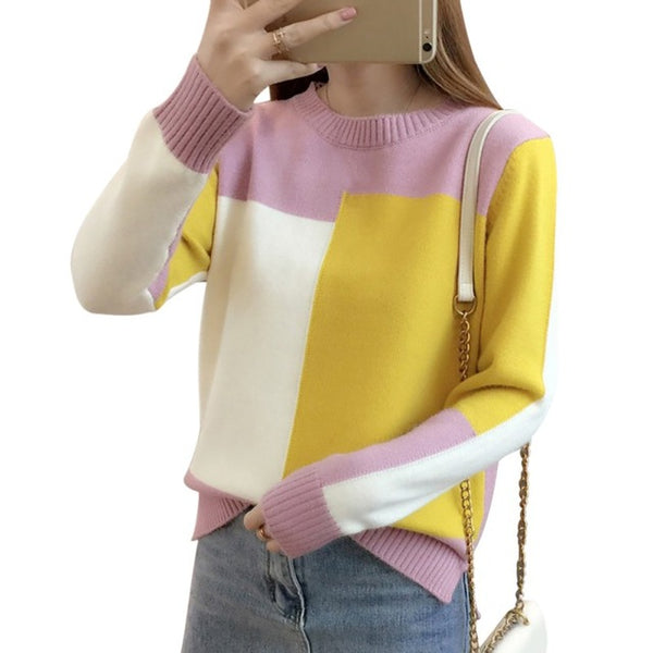 2019 Autumn Winter Korean style Contrast Color Sweater Women Long Sleeve Jumper Sweater And Pullover Knitted Sweater pull femme