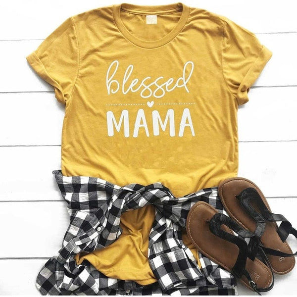 Blessed mama t shirt women fashion olive funny thanksgiving day gift slogan heart graphic young street style tees gift art tops