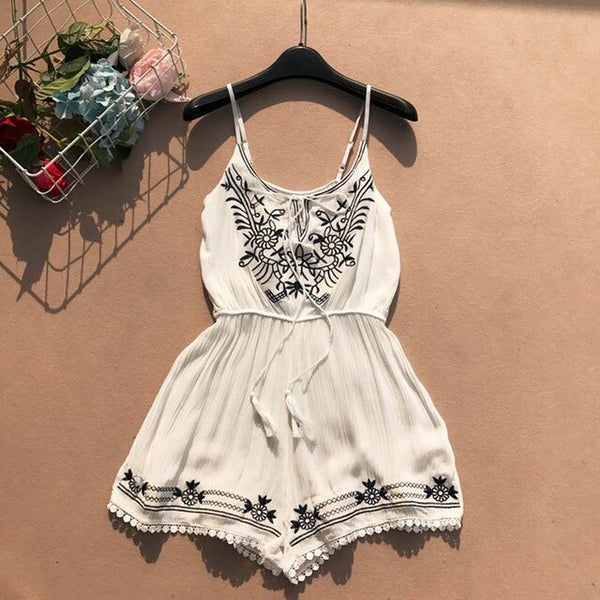 2019 Summer Clothes Women Fashion Sexy V-neck Embroidery Jumpsuit Female Lace-up Wide Legs Bodysuit Beach Style Womens Rompers