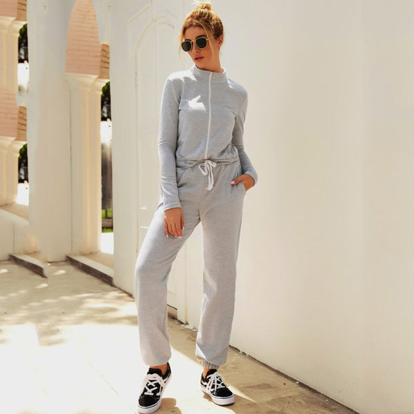 Lossky Autumn Winter Jumpsuit Zipper Womens Long Sleeve Rompers Solid Casual Long Pants Slim Jumpsuit Ladies Sets Leisure 2019