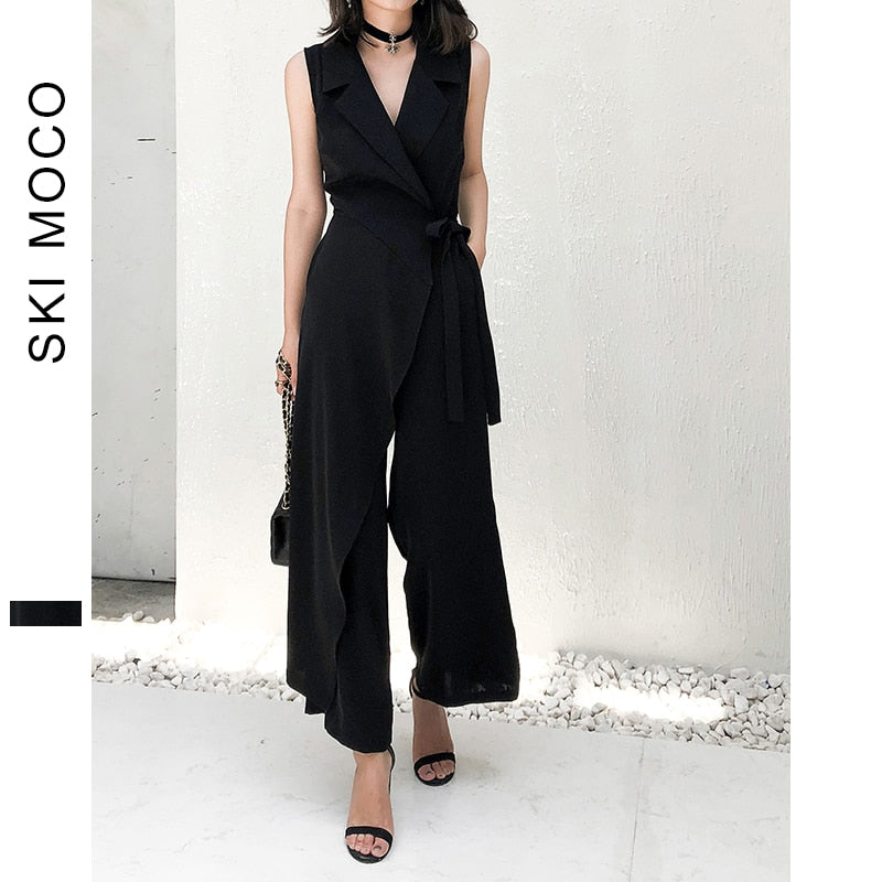 Office Ladies Elegant Jumpsuits Sleeveless Wide Leg Long Pants Workwear Jumpsuit Women Turndown Collar lace up Plain Overalls