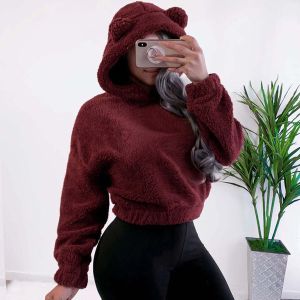 Hoodie Sweatshirt With Ears Crop Top Short Women Long Sleeve Pullovers New White Autumn Winter Teddy Plush Warm Ladies Clothing