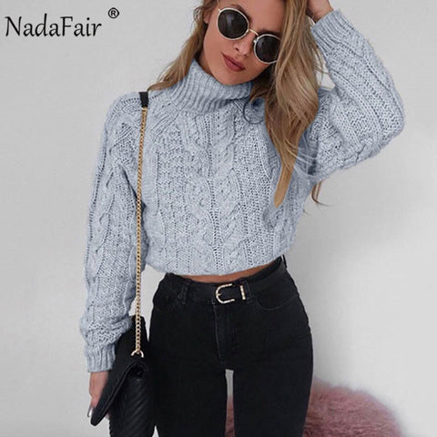 Nadafair Casual Turtleneck Sweater Twist Crop Knitted Oversized Sweater Women Pullovers Winter Jumper Knitwear Pull Femme