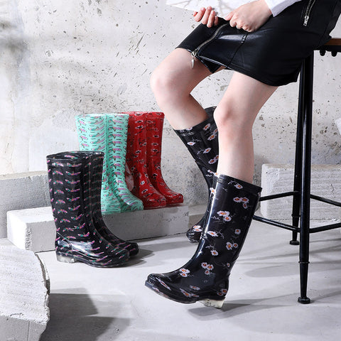 New Rain Shoes Women's Printed Rain Boots High Tube Anti-skid Wear-resistant Bottom Water Boots High Top Rubber Waterproof Shoes