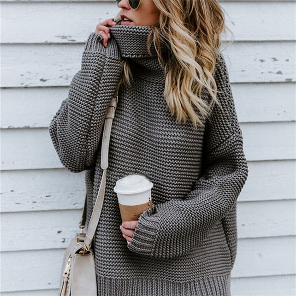 Winter Sweater Women Pullover Turtleneck Knitted Sweater Long Sleeve XL Plus Size Clothes Sueter Mujer Invierno 2019