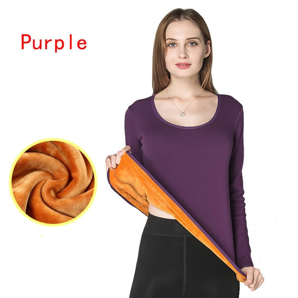 Women Winter Thermal Underwear Tops Plus Cashmere Winter Autumn Shirts Thick Fleece Pullovers Keep Warm Layered Clothing Pajamas