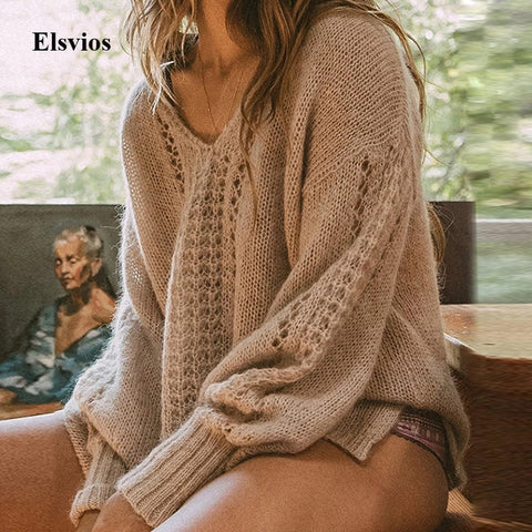 Elsvios Sexy V Neck Hollow Out Sweater Women Autumn Long Sleeve Knitted Sweaters Solid Casual Winter Warm Pullovers Tops Jumper