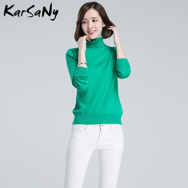 KarSaNy Turtleneck Sweater Female Plus Size Sweaters Women Autumn Winter High Collar Wool Sweater Turtleneck For Women Jumper