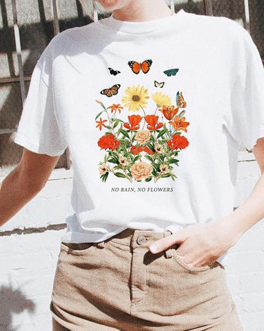 No Rain No Flowers Tee Graphic T-shirt Featuring Flowers and Butterfly Vintage Inspired Graphics Shirts Summer Fashion Tops