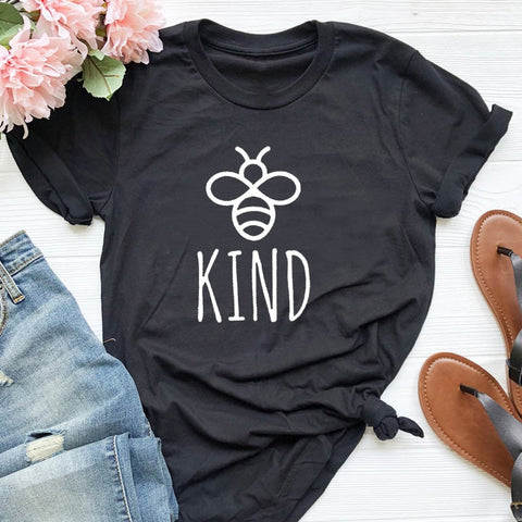 "Women's ""Be Kind"" Graphic Cartoon Bee  T-Shirt"