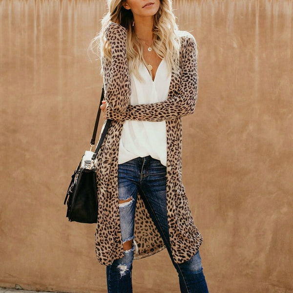 Women's Fashion Streetwear Leopard Open Cardigan