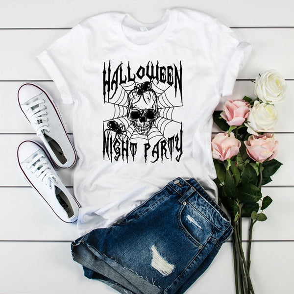 Womens Cartoon Skull Printed Funny Happy Halloween Tops Cute Graphic Tee Shirt Female Fashion Clothes