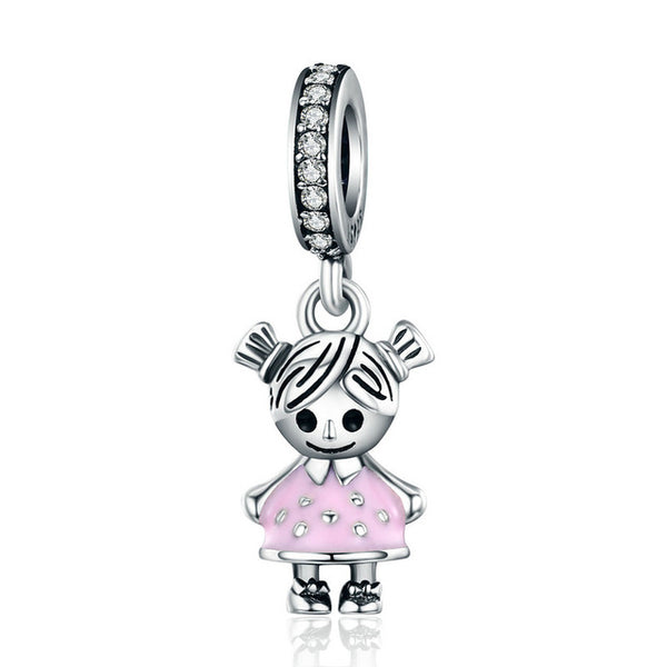Leabyl 100% 925 Sterling Silver Little Girl Pendant Charm fit Bracelet & Necklaces DIY Jewelry for Child Gift
