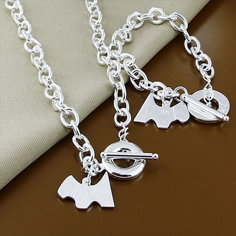 Fashion Silver 925 Jewelry Sets Animal Dog Pendant Chain Necklace Bracelet Set High Quality Jewelry Wholesale