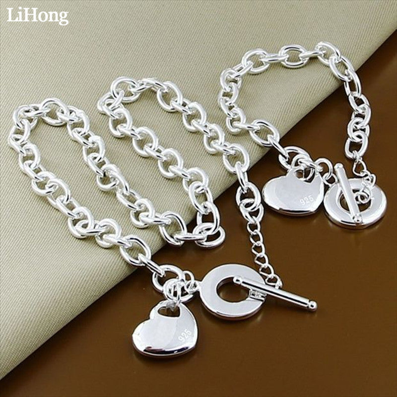 High Quality Silver Color Wedding Jewelry Set Romantic Female Love Hollow Pendant Necklace Bracelet Two-Piece