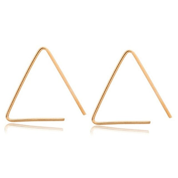 Sweet and simple open triangle geometric metal tri-color earrings Female Temperament Accessories Jewelry