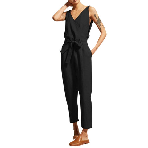 2019 Summer Women Casual Solid Sleeveless V-Neck Belt Slim Plus Size Linen Long Jumpsuit bodysuit women rompers womens jumpsuit