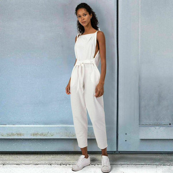 2019 Women Strap Sleeveless Rompers Waist Tied Casual Casual Loose Linen Cotton Jumpsuit Dungarees Playsuit Trousers Overalls