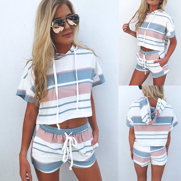 BKLD Tops & Shorts Two Piece Set Hooded Short Sleeve Women Outfits Summer Casual Shorts Top Set Woman Striped Two Piece
