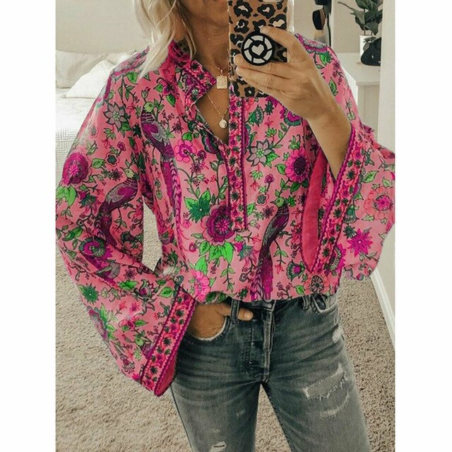 Women Shirts Autumn Casual V-Neck Bohemian Boho Floral Print Shirts Women Top Fashion Long Sleeve Ladies Print Femme Shirt New