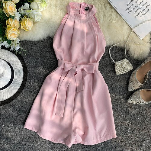 Customize Made Women Summer Fashion Sexy Off Shoulder Short Jumpsuit Ladies Casual Sli Fit Sashes Decoration Playsuit