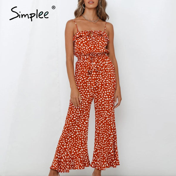 Simplee Spaghetti straps leopard women jumpsuits Bohemian female flare jumpsuit romper Beach summer holiday ladies overalls 2020