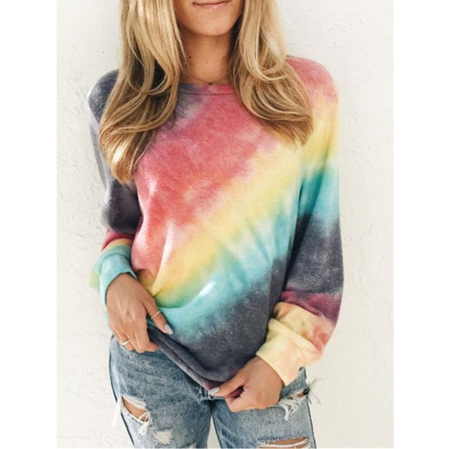 Rainbow Long Sleeve Women Tshirt Plus Size Print Autumn Spring Tee Shirt Femme Streetwear Clothes Women Tops and Shirts