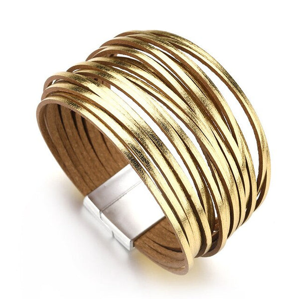 ALLYES Simple Gold Color Leather Bracelets For Women Fashion 2020 Boho Multilayer Strips Wide Wrap Bracelet Jewelry