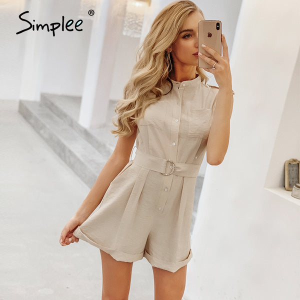 Simplee Casual sash belt women playsuit Sleeveless buttons pockets female rompers jumpsuit Spring summer elegant ladies overalls