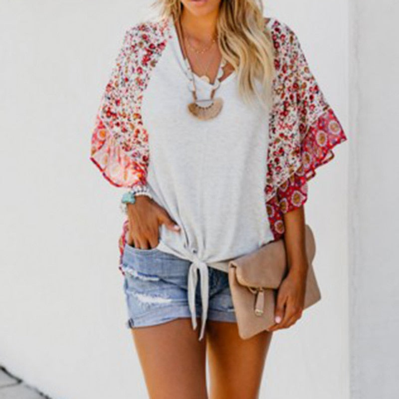 Women Boho Floral T-shirt V Neck Bat Sleeve Summer T-Shirt Loose Tops -MX8