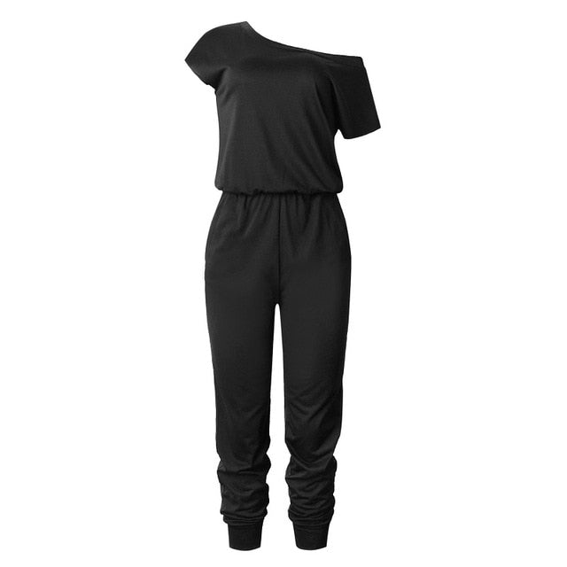 Women's Slant Shoulder Casual Pocket Jumpsuit