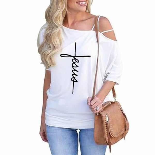 Fashion Slanted Shoulder Sleeve T-Shirt For Women Faith Letters Print T-Shirt Female Top Women Tshirt Femme Summer Tops Cotton