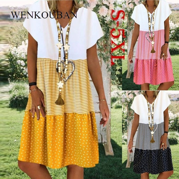 Women's Boho Summer Striped Dot V-Neck Dress 2020