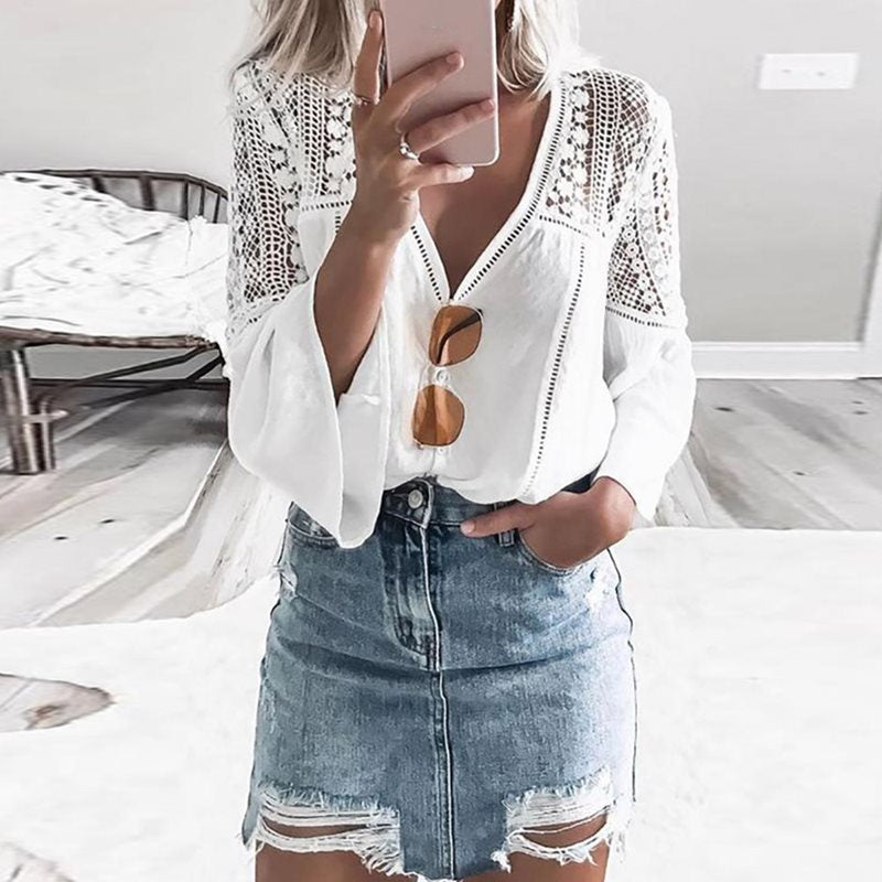 Fanco Women Boho Top Blouses White Summer Sexy V Neck Long Flare Sleeve Sexy Hollow Travel Top Appliques Casual Vocation