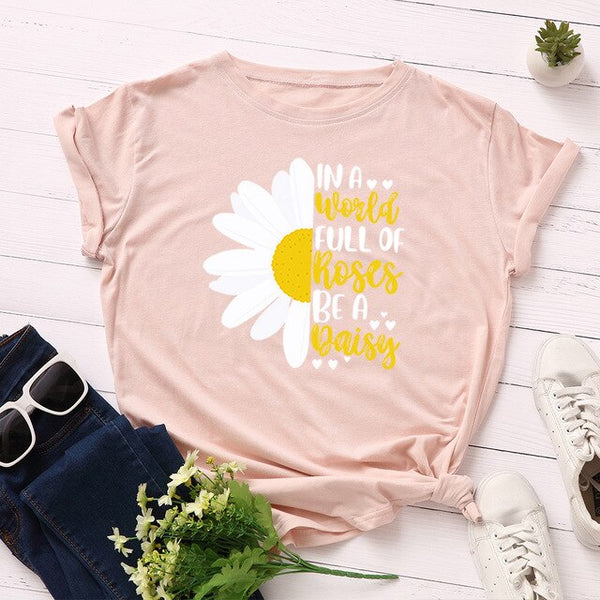 Plus Size Daisy Graphic Print Women Tshirts Summer Cotton T Shirt Harajuku Female Tee Shirt Casual Loose Tops Streetwear Clothes
