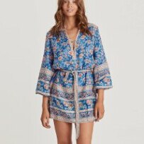 TEELYNN MINI tunic dress rayon 2019 blue rose Floral print Gypsy Dresses chic long sleeve beach women Dress Autumn boho dresses