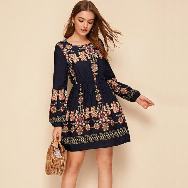 NEW Women Boho Lantern Long Sleeve Floral Dress Elastic Waist O-Neck Evening Party Casual Mini Dress