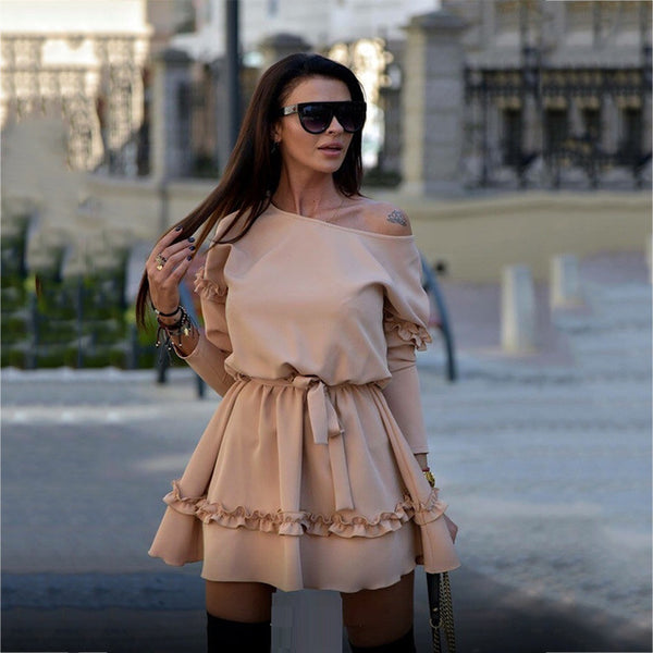 New S-2XL Europe Style Women Dress A-line Office Lady Sweet Temperament Spring Autumn Solid Mini Dress High Quality FR11