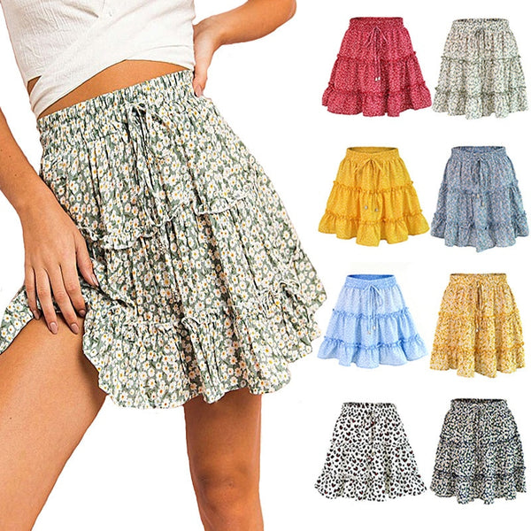 Skirt Summer Floral Ruffle Womens Pleated Short Skirts Red Skirt Red For Women Mini Kawaii Women Boho Chiffon Leopard Skirt 2020