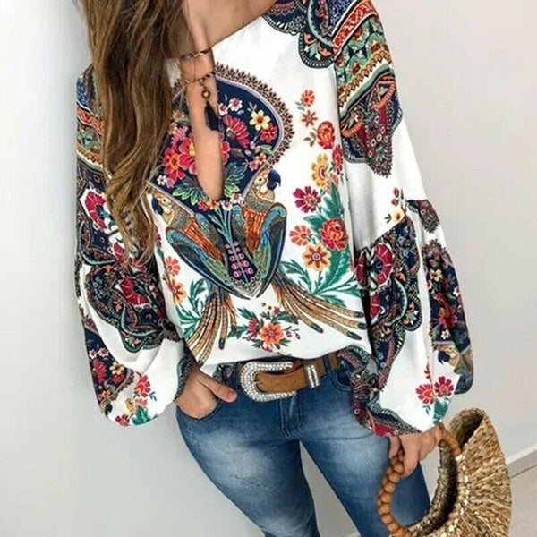 2020 Women Boho Floral Print O-Neck Long Lantern Sleeve Oversize T-Shirt Tops S-3XL Elegant Female Summer Tops Loose
