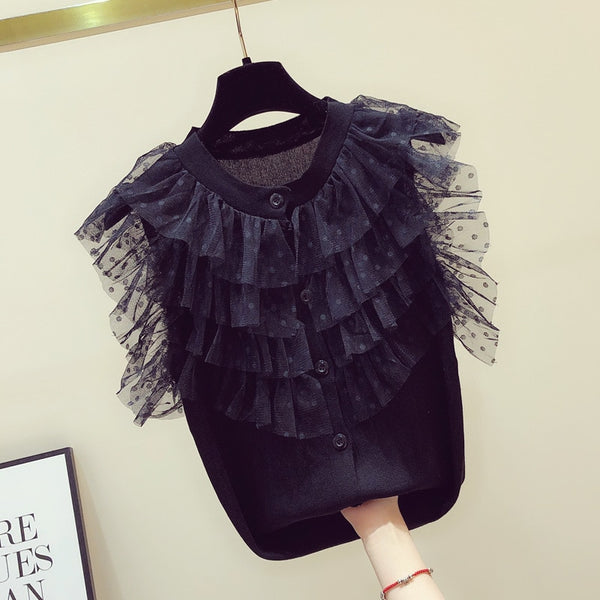 2020 Spring New Women's Slim Frilled Mesh Lace Solid Color Sleeveless T-shirt Top Womens Tshirt Black Knitted Shirt Tops Tee