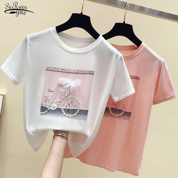 2020 Cotton Women Tshirts Fashion Cool Print Female Summer T-shirt White Casual T Shirt Femme Pink Loose Summer Top 4767 50