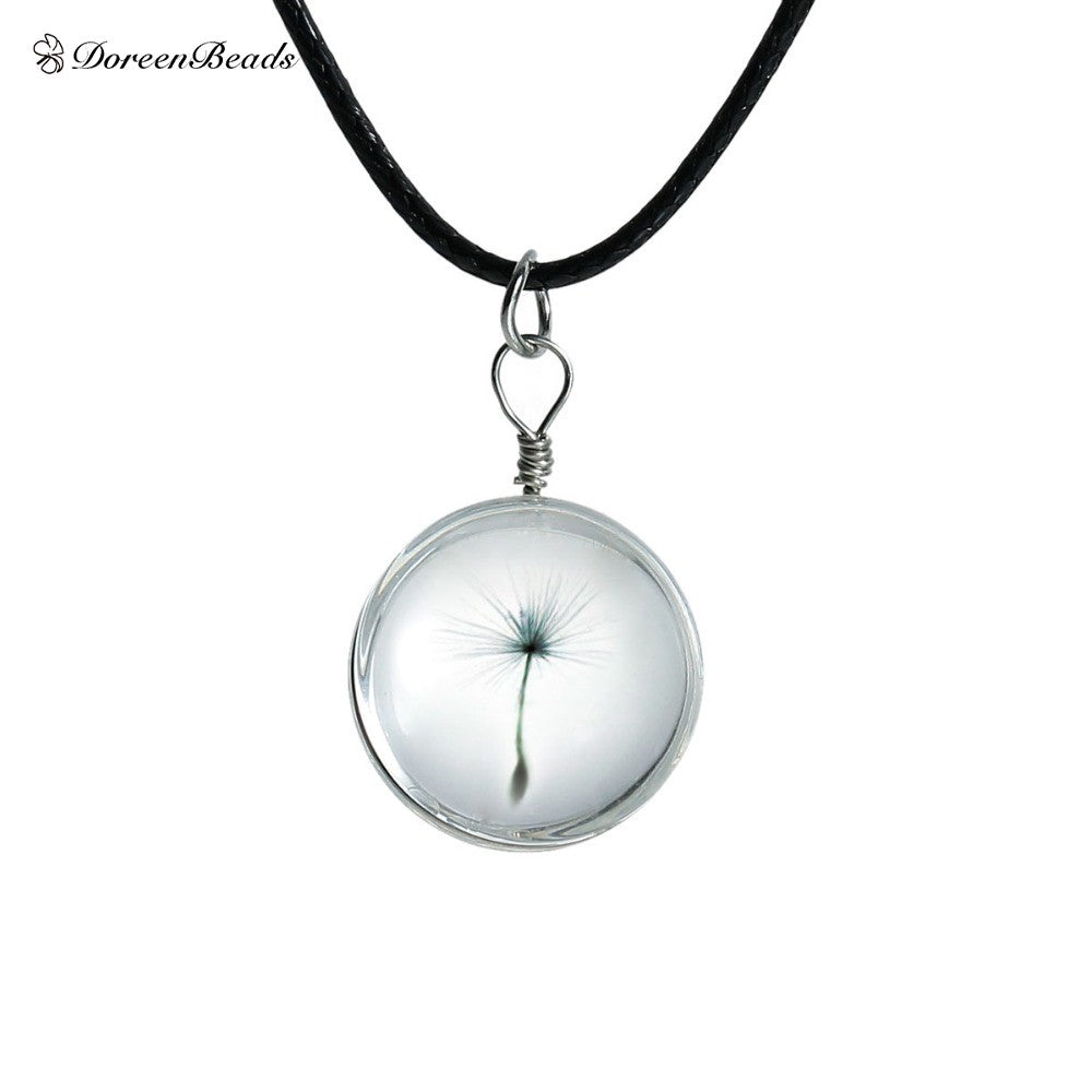 Crystal Glass Ball with Real Dandelion Pendant on Leather Strip Long Necklace