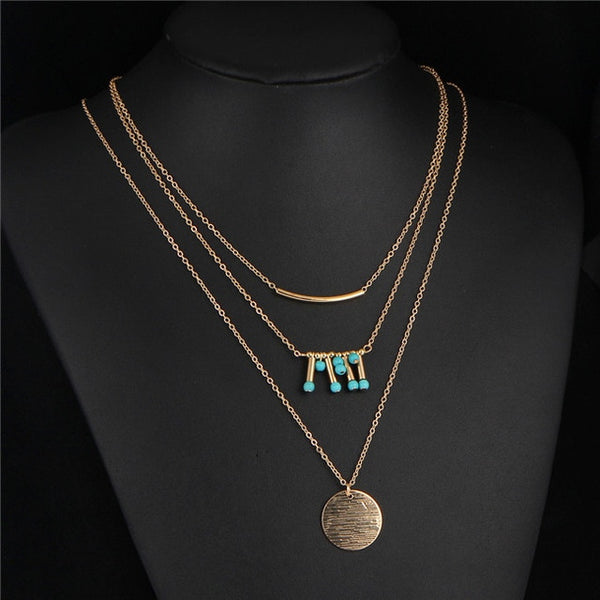 Multi-Layer Long Chain Necklace w/ Choker, Tassel Gold Chain with Choker  Statement Necklaces for Women