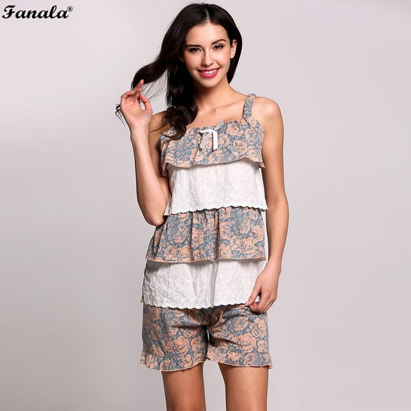FANALA 2017 Women Cute Pijamas Set Female Sleepwear Home Clothing Patchwork Sexy Strap Shorts Homewear Two Pieces Pijama mujer