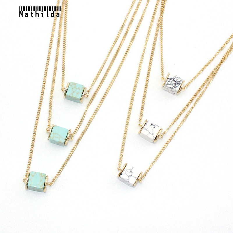 Mathilda Europe Handcraft Green StonePendant  Layered Necklace Square Pendant Triple Chain Necklace OL Style Women Jewelry RX010